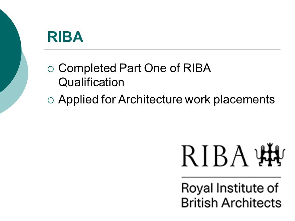 RIBA Completed Part One of RIBA Qualification