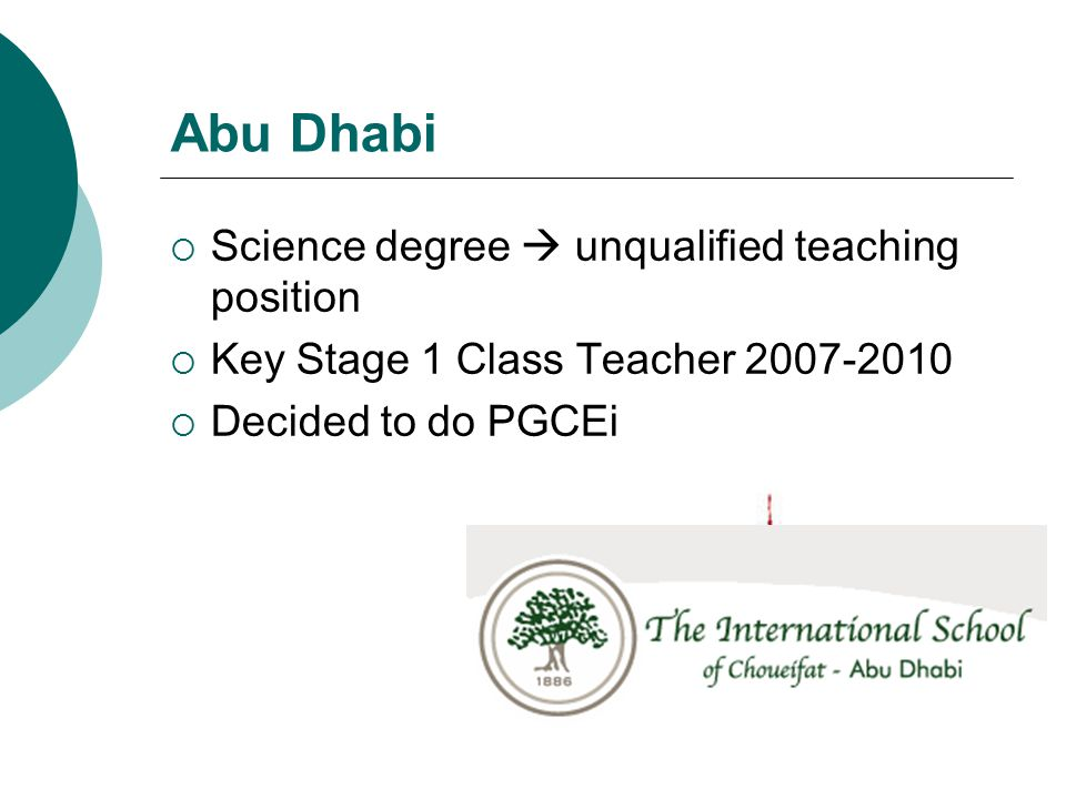 Abu Dhabi Science degree  unqualified teaching position