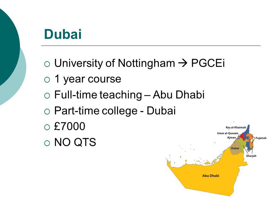 Dubai University of Nottingham  PGCEi 1 year course