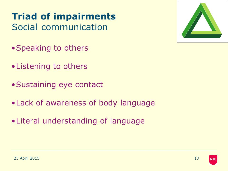 Triad of impairments Social communication