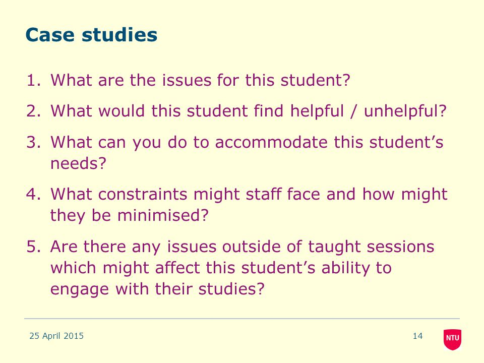 Case studies What are the issues for this student