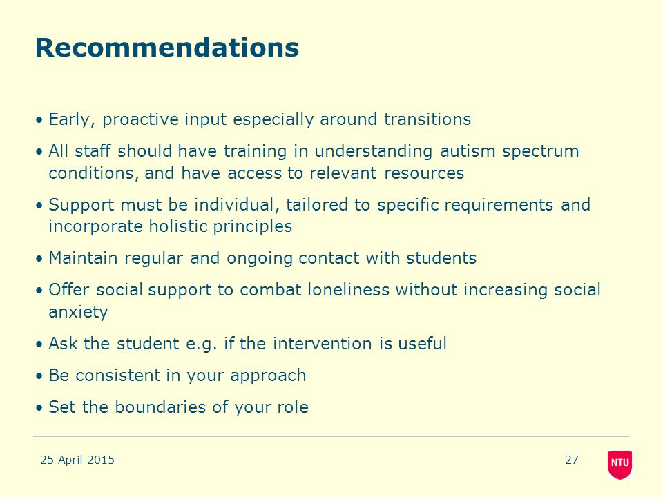 Recommendations Early, proactive input especially around transitions