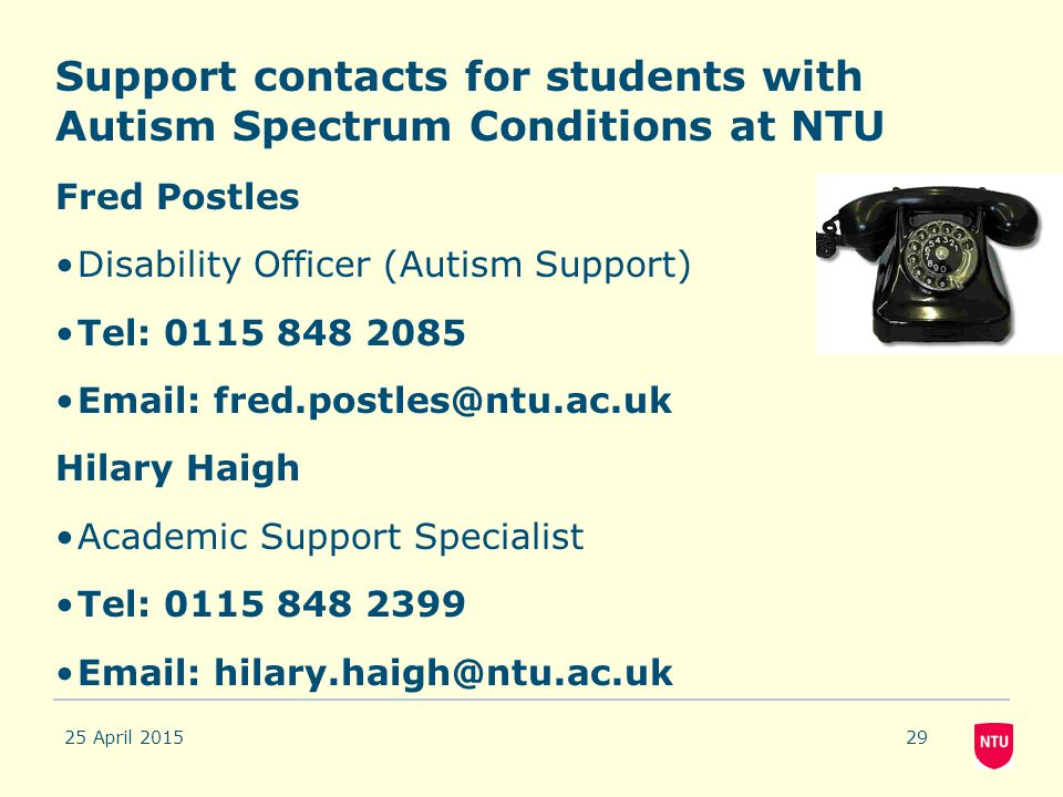 Support contacts for students with Autism Spectrum Conditions at NTU