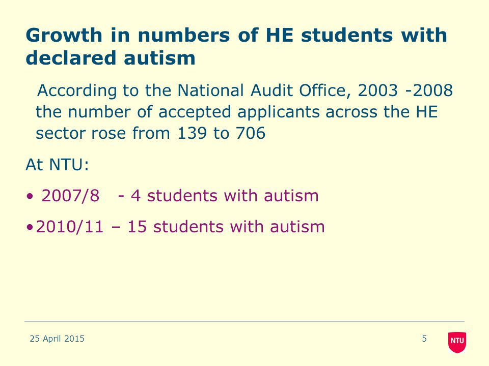 Growth in numbers of HE students with declared autism