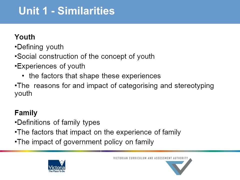 Unit 1 - Similarities Youth Defining youth