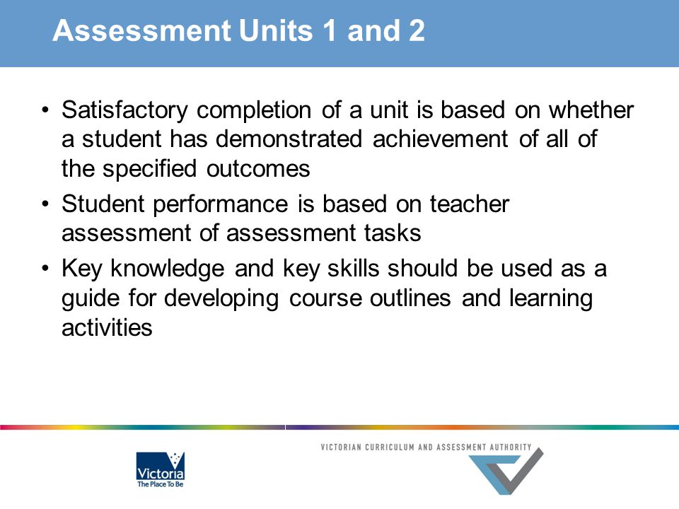 Assessment Units 1 and 2