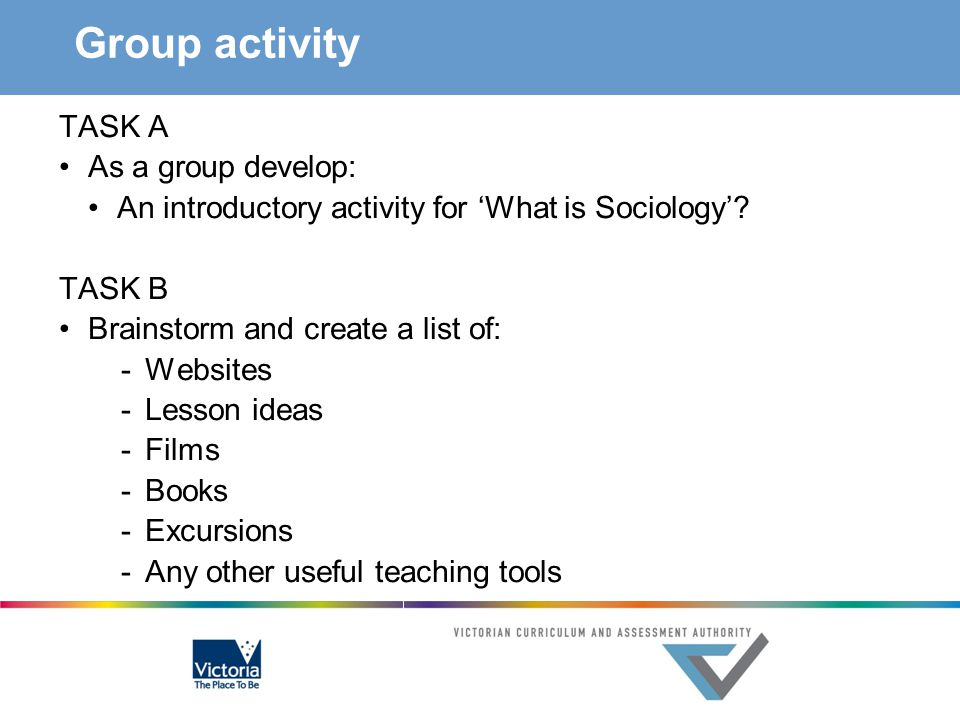 Group activity TASK A As a group develop: