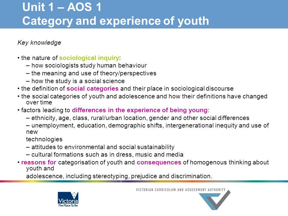 Unit 1 – AOS 1 Category and experience of youth
