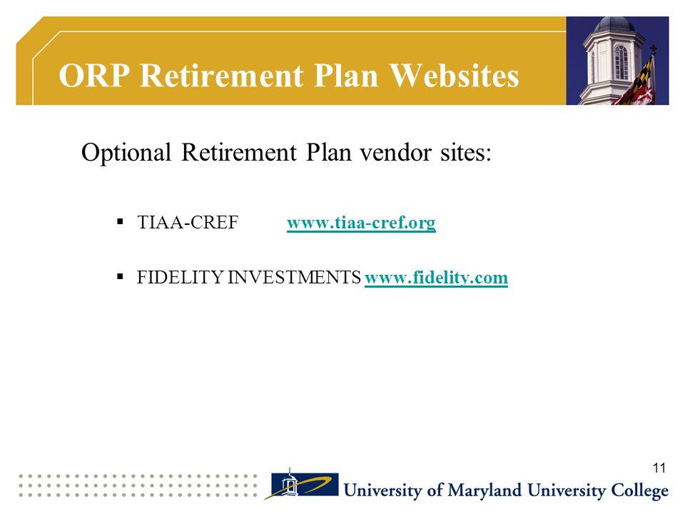 ORP Retirement Plan Websites