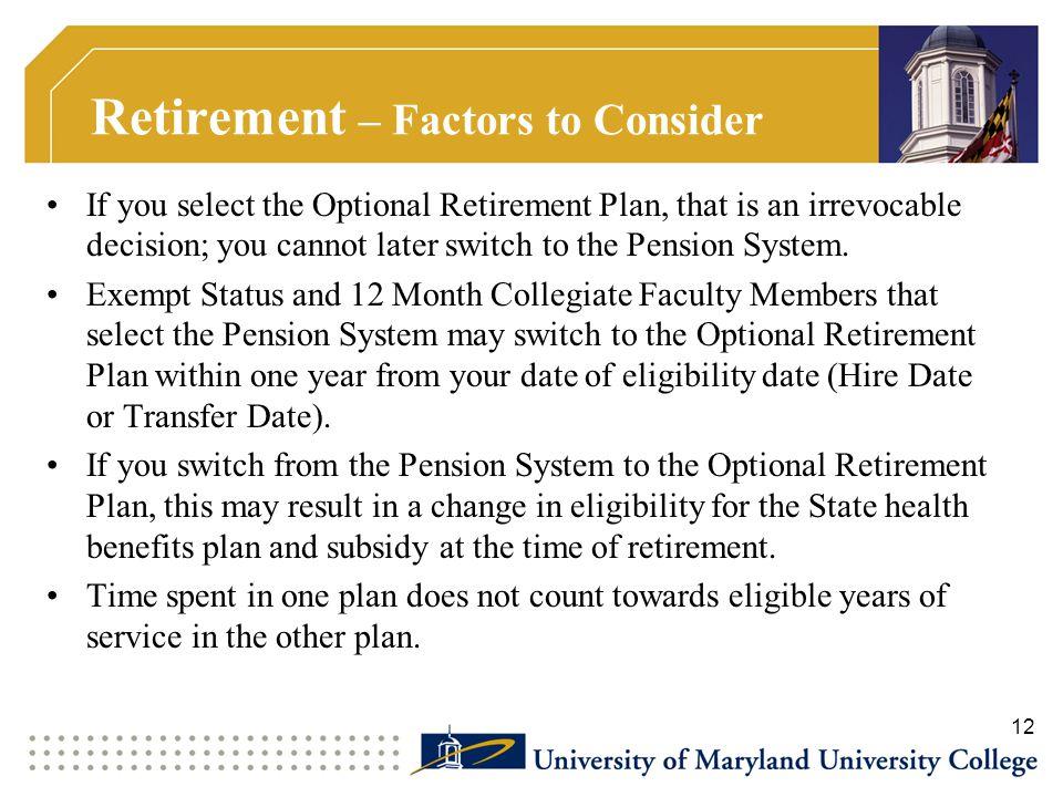 Retirement – Factors to Consider
