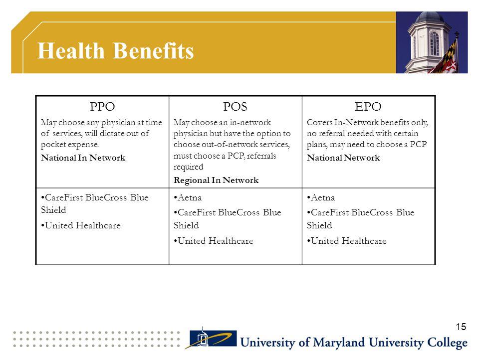 Health Benefits PPO POS EPO CareFirst BlueCross Blue Shield