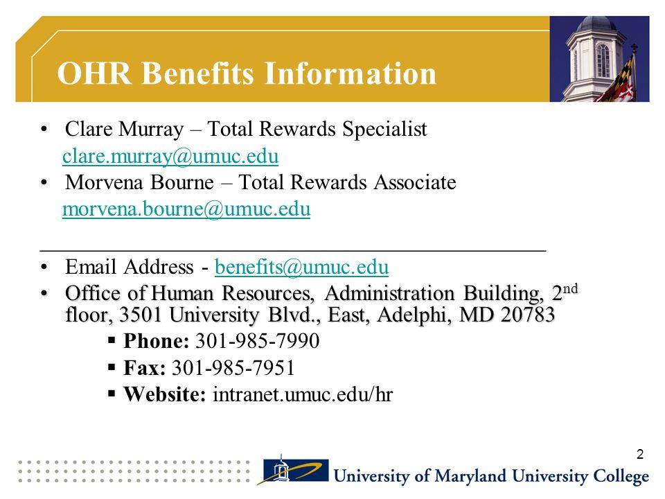 OHR Benefits Information