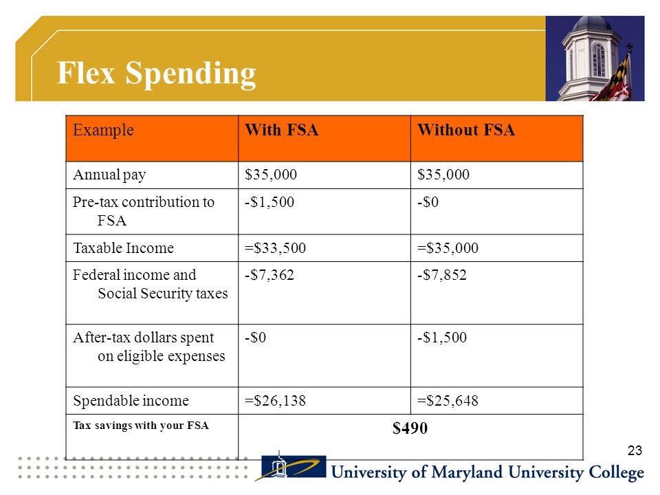 Flex Spending Example With FSA Without FSA $490 Annual pay $35,000