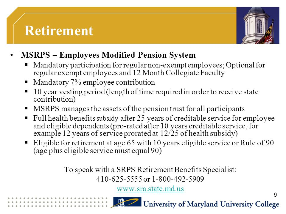 To speak with a SRPS Retirement Benefits Specialist: