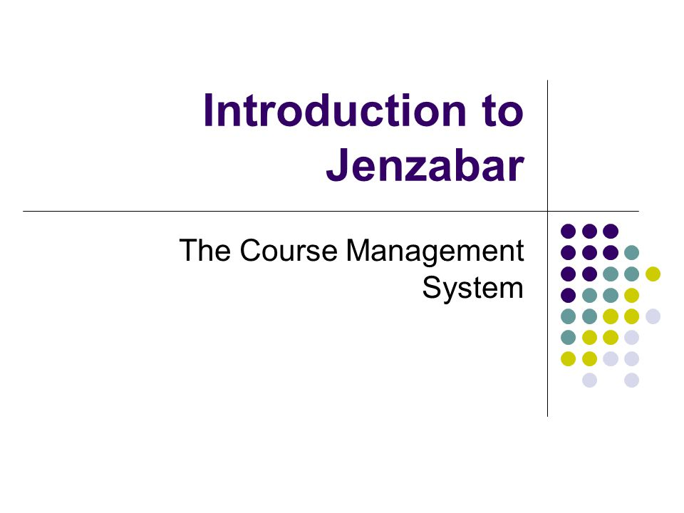 Introduction to Jenzabar