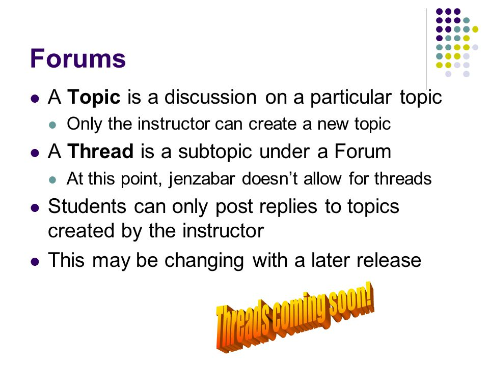 Forums Threads coming soon!
