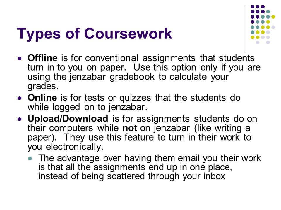 Types of Coursework