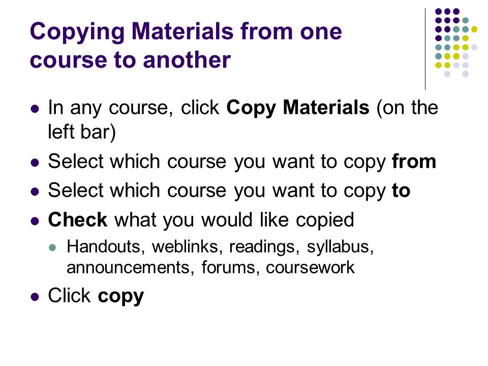 Copying Materials from one course to another