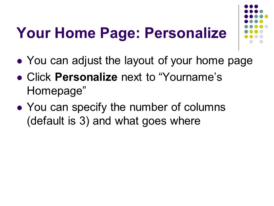Your Home Page: Personalize
