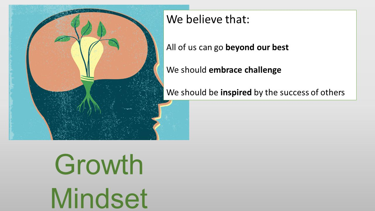 Growth Mindset We believe that: All of us can go beyond our best