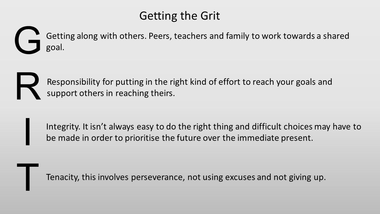 Getting the Grit G. R. I. T. Getting along with others. Peers, teachers and family to work towards a shared goal.
