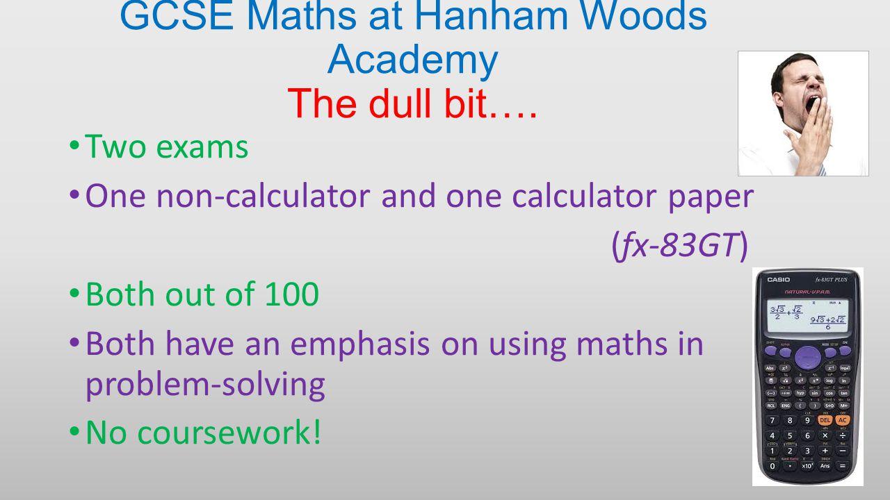 GCSE Maths at Hanham Woods Academy The dull bit….
