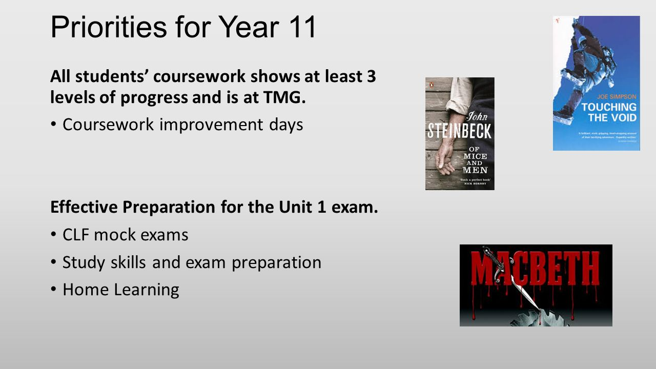 Priorities for Year 11 All students' coursework shows at least 3 levels of progress and is at TMG.