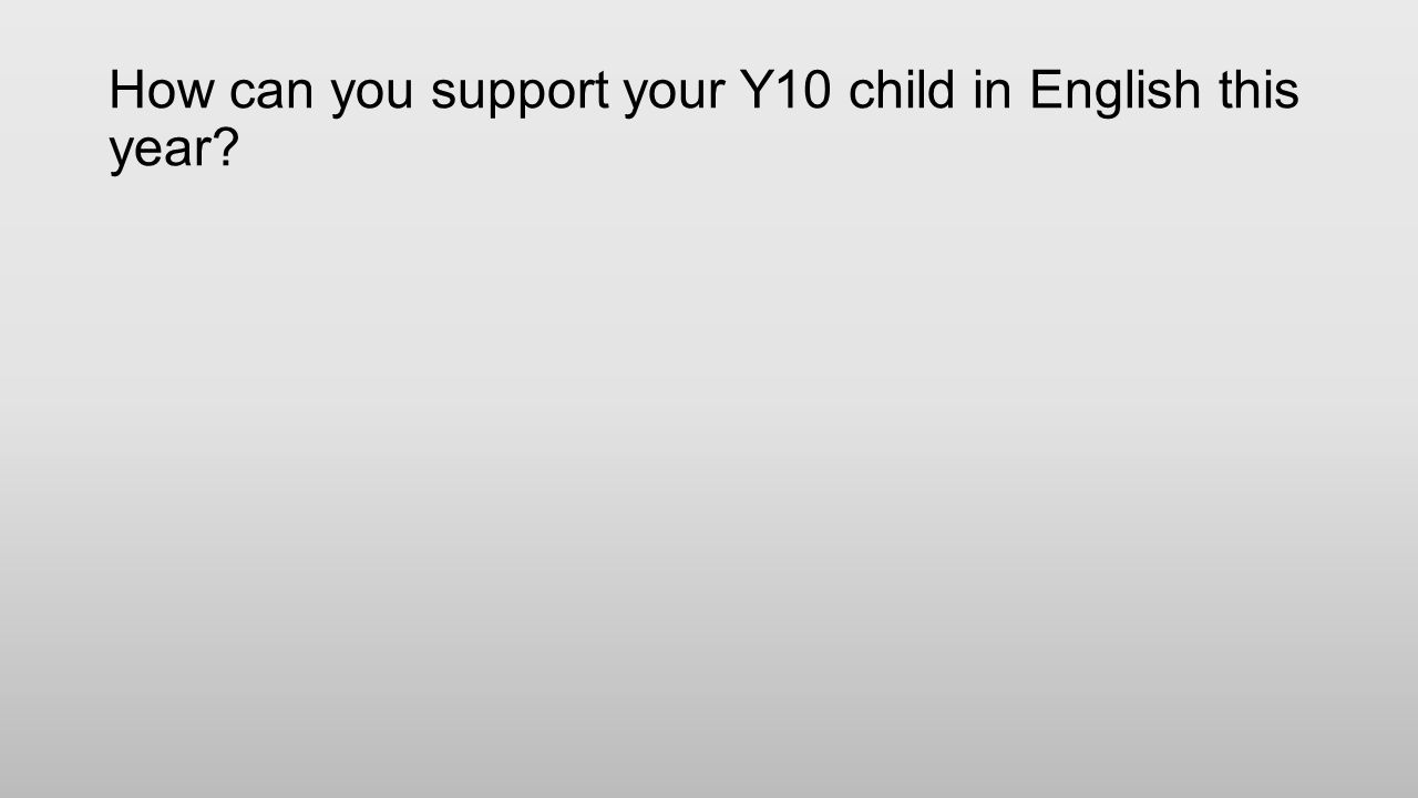 How can you support your Y10 child in English this year