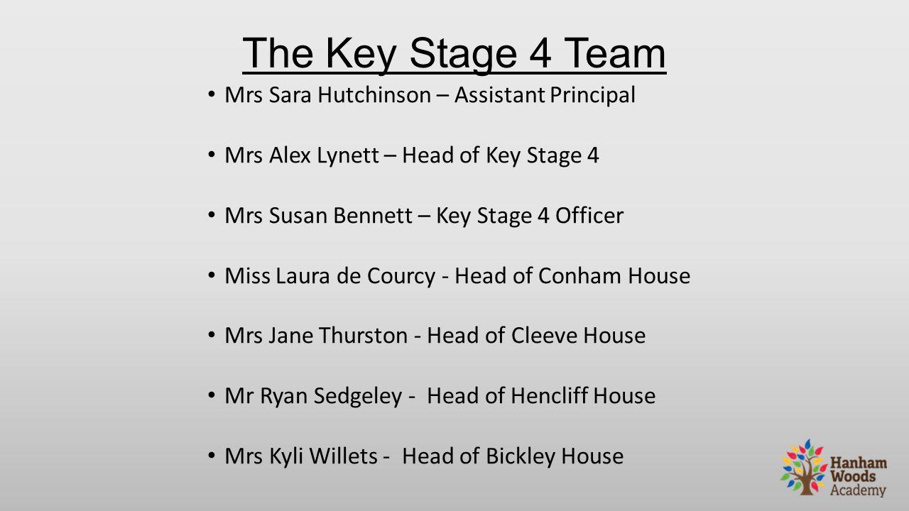 The Key Stage 4 Team Mrs Sara Hutchinson – Assistant Principal