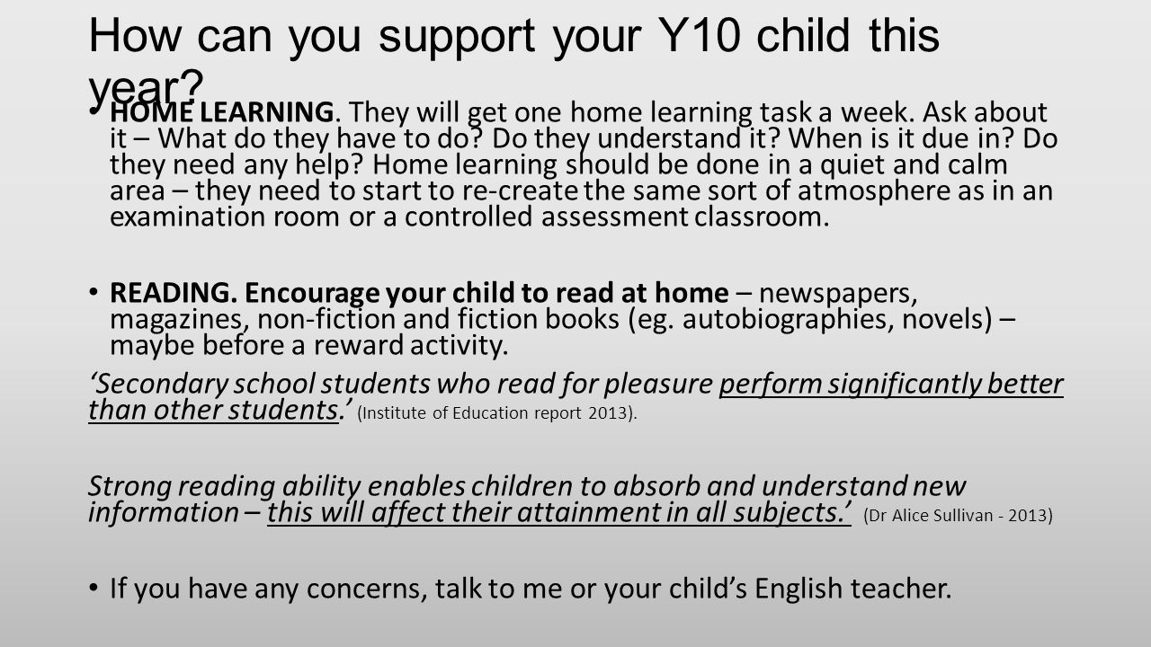 How can you support your Y10 child this year