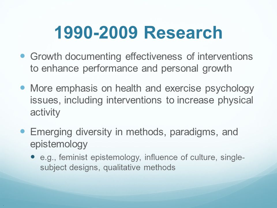 1990-2009 Research Growth documenting effectiveness of interventions to enhance performance and personal growth.