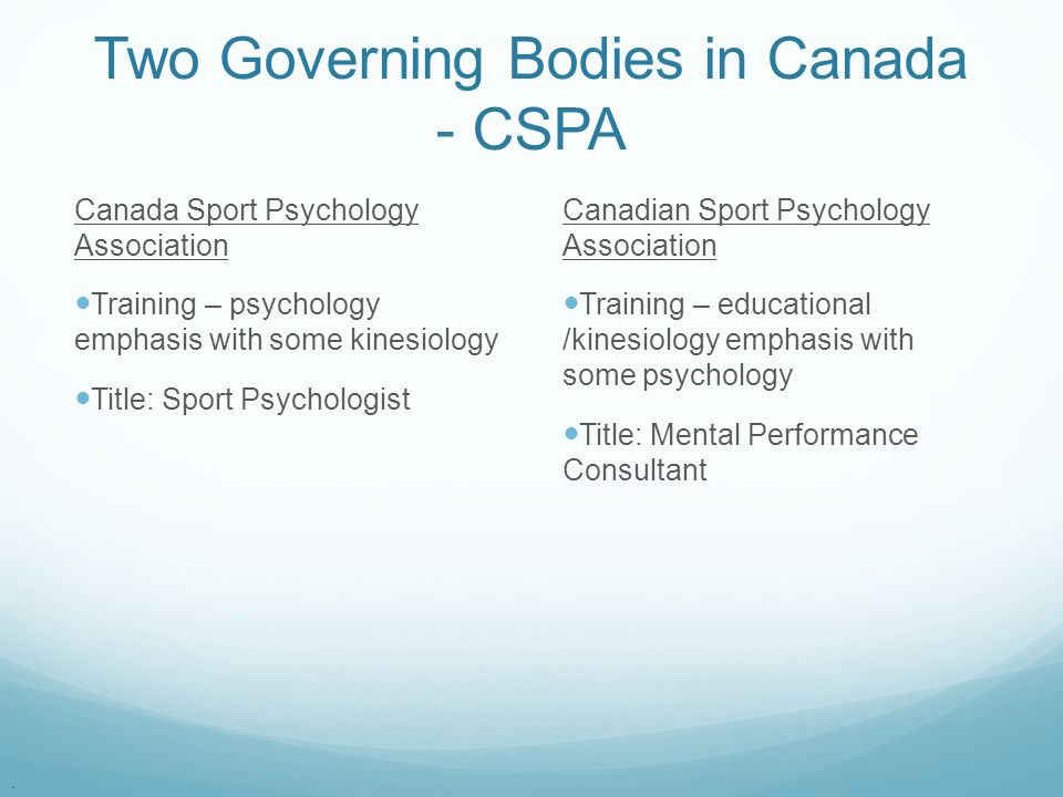 Two Governing Bodies in Canada - CSPA