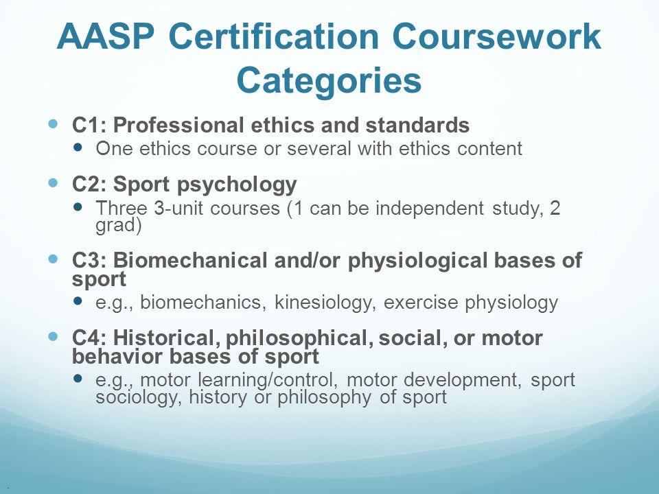 AASP Certification Coursework Categories