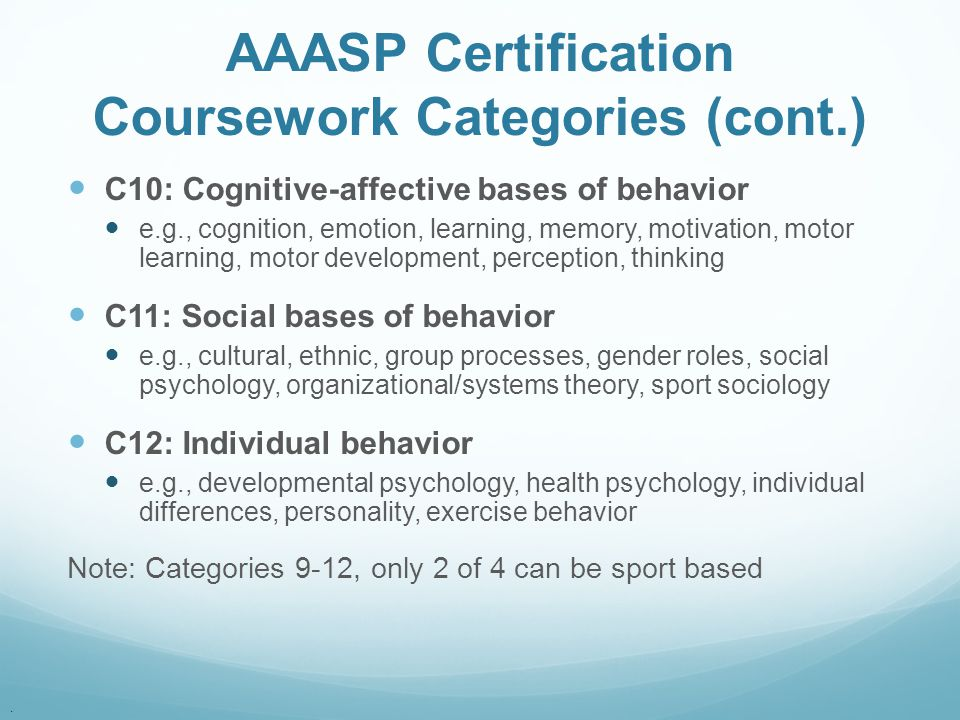 AAASP Certification Coursework Categories (cont.)