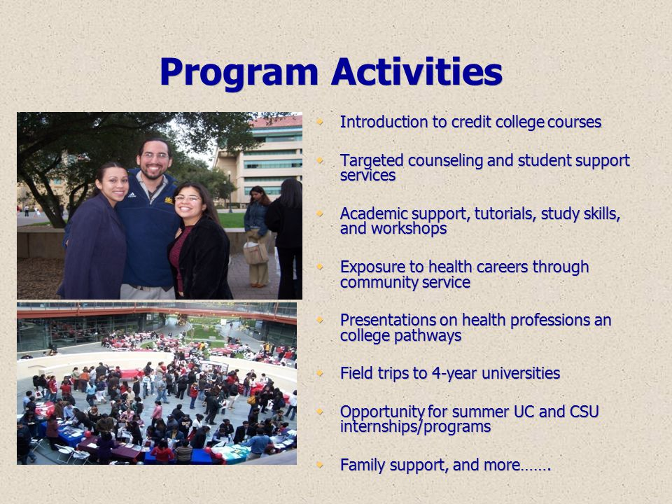 Program Activities Introduction to credit college courses