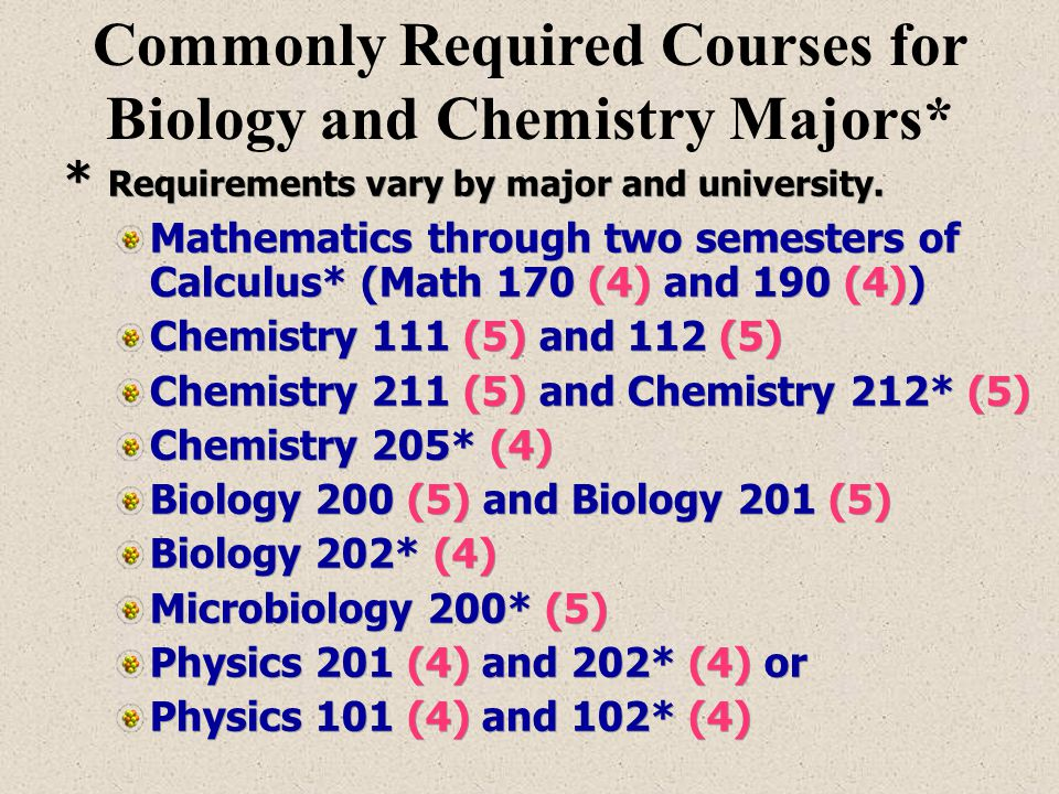 Commonly Required Courses for Biology and Chemistry Majors*