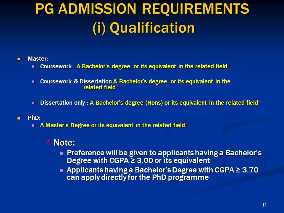 PG ADMISSION REQUIREMENTS (i) Qualification