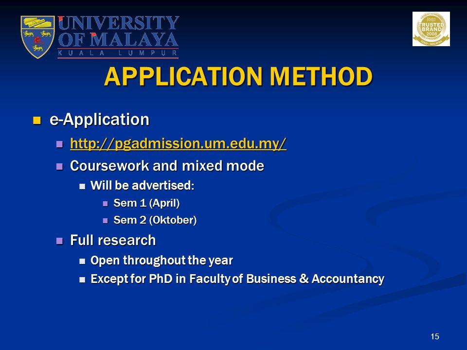 APPLICATION METHOD e-Application http://pgadmission.um.edu.my/