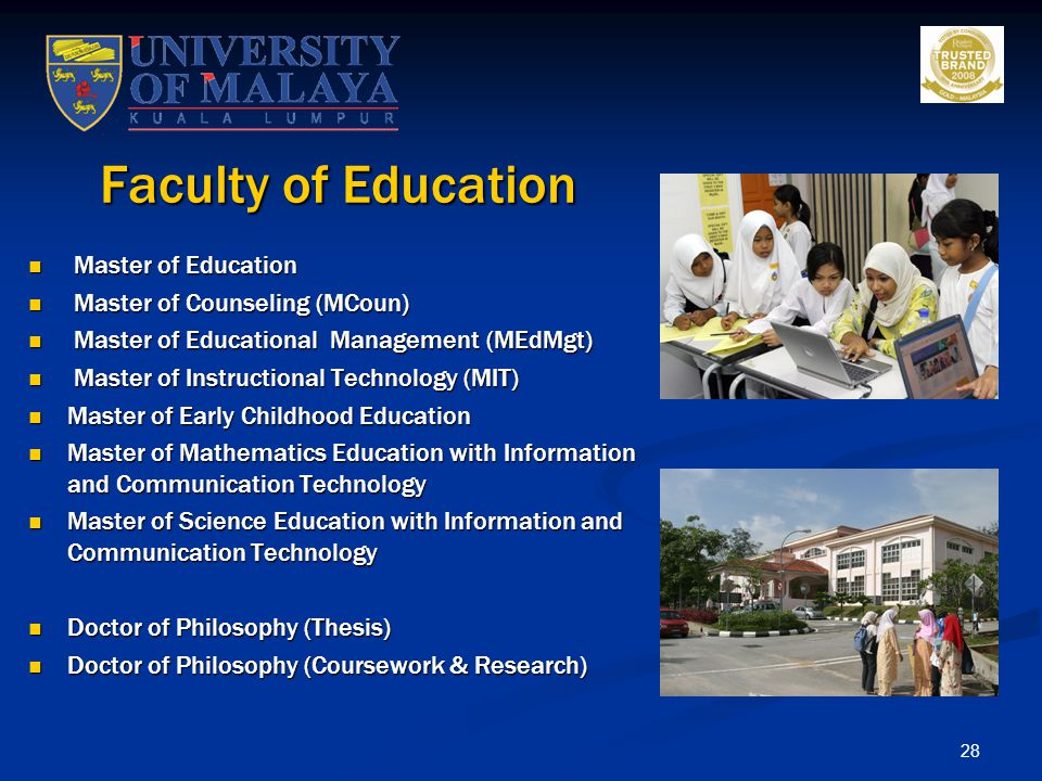 Faculty of Education Master of Education Master of Counseling (MCoun)