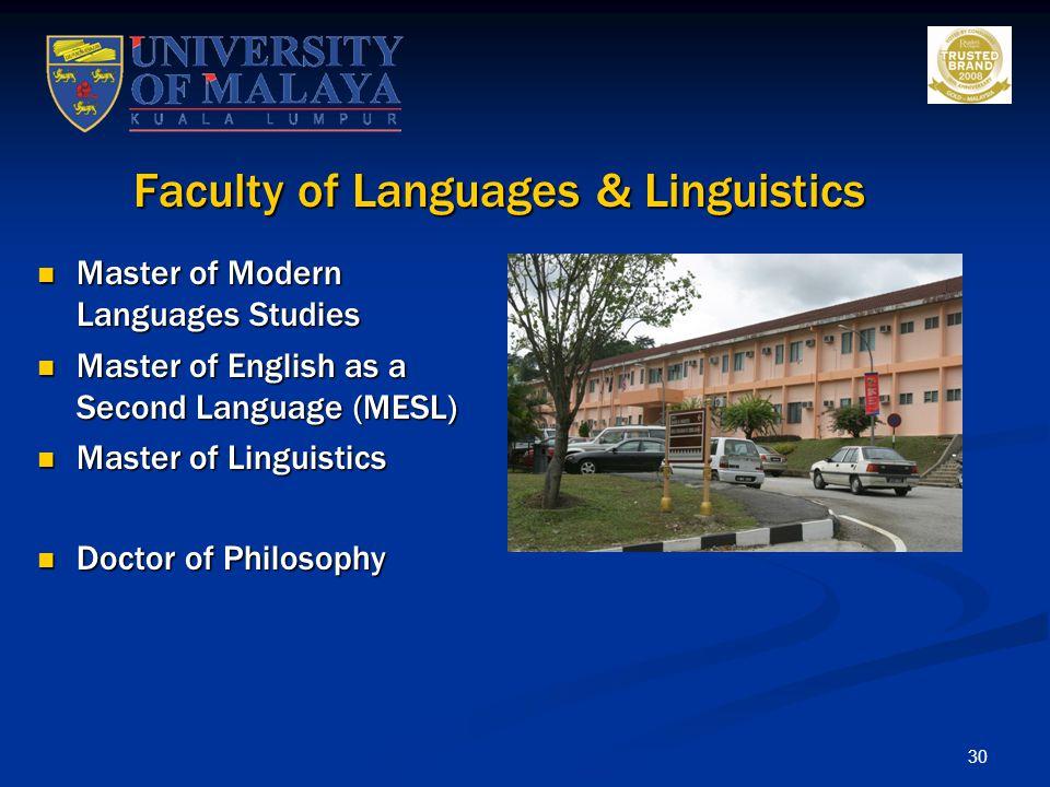Faculty of Languages & Linguistics
