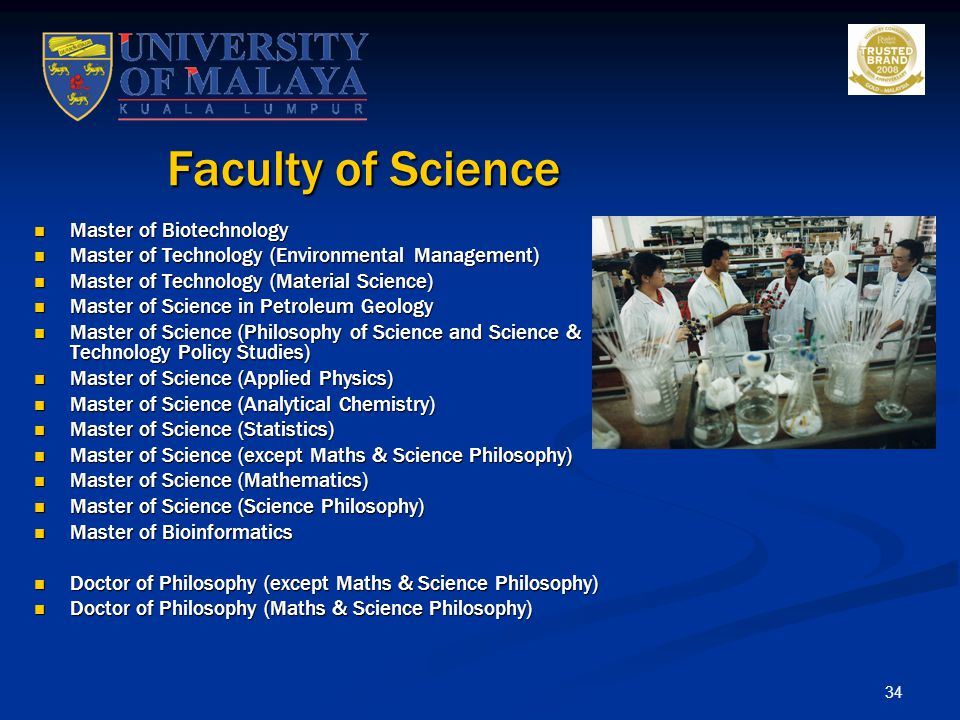 Faculty of Science Master of Biotechnology