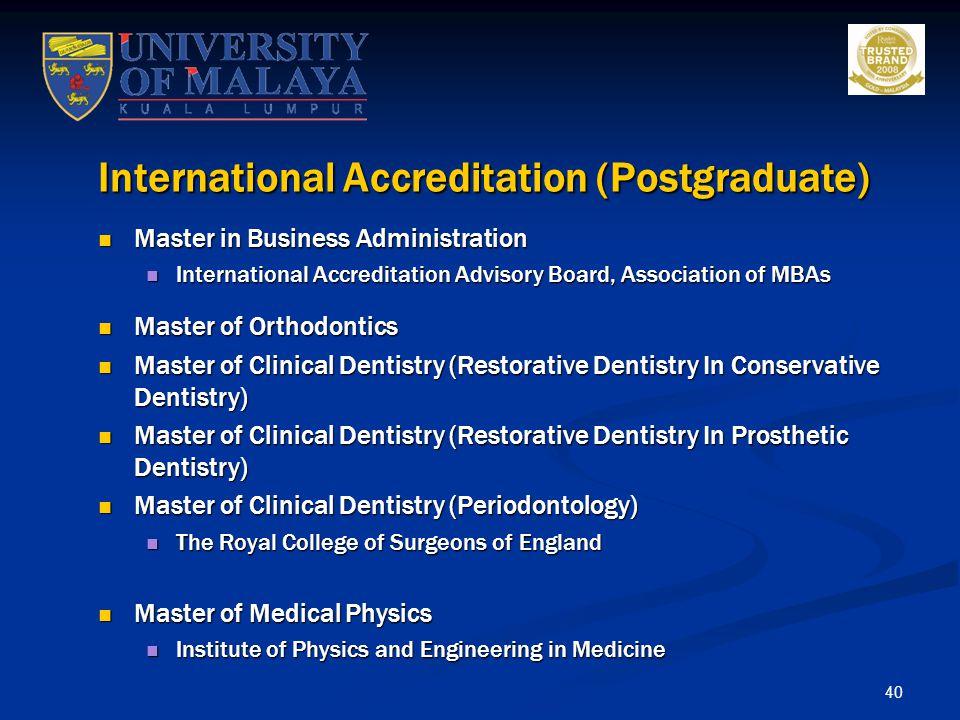 International Accreditation (Postgraduate)