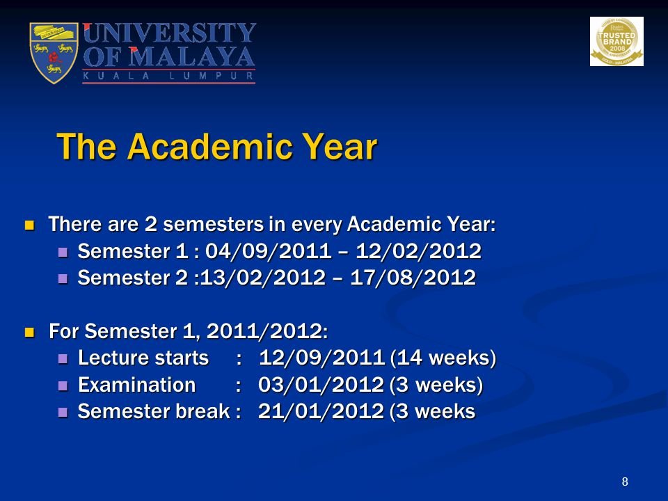 The Academic Year There are 2 semesters in every Academic Year: