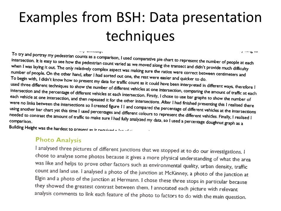 Examples from BSH: Data presentation techniques