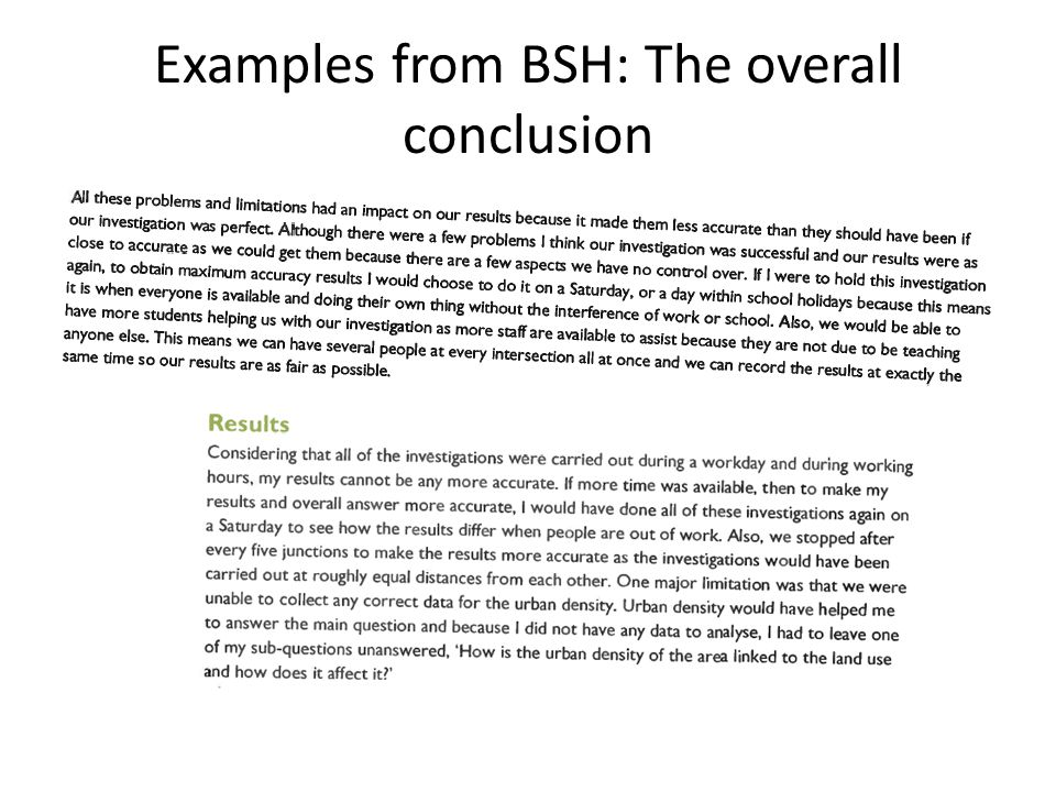 Examples from BSH: The overall conclusion