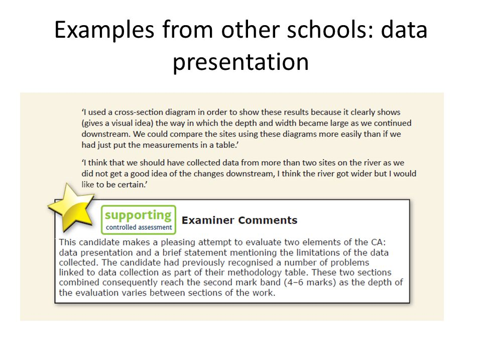 Examples from other schools: data presentation