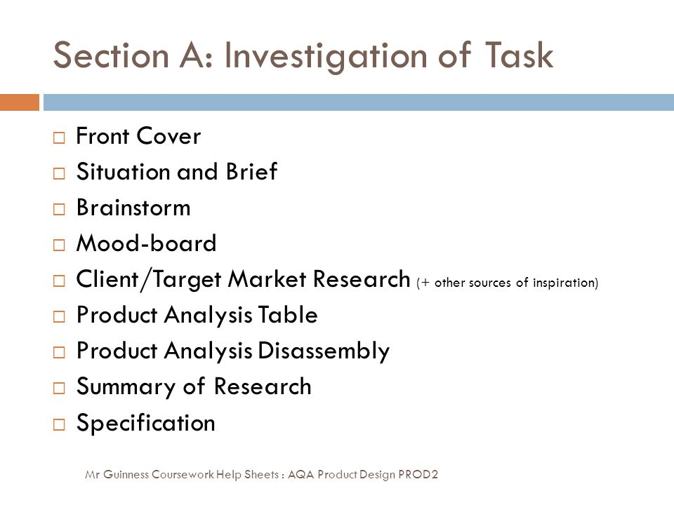 Section A: Investigation of Task