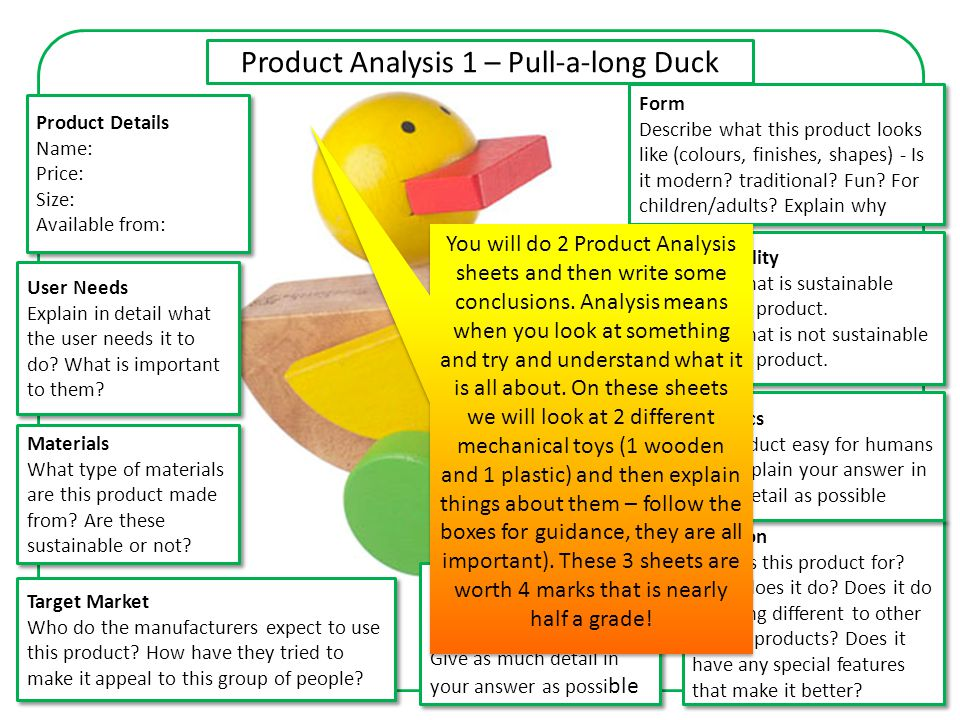 Product Analysis 1 – Pull-a-long Duck