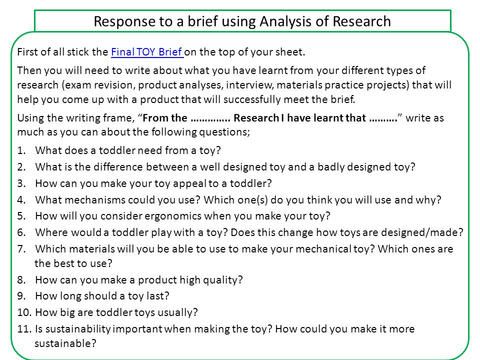 Response to a brief using Analysis of Research