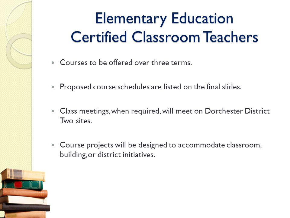 Elementary Education Certified Classroom Teachers